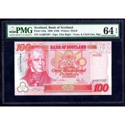 Шотландия 100 фунтов 1995 г. (SCOTLAND 100 Pounds Sterling 1995) P123а:64 greid slab