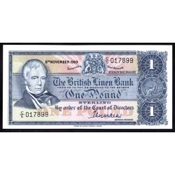 Шотландия 1 фунт 1969 г. (SCOTLAND 1 Pound Sterling 1969) P169b:Unc
