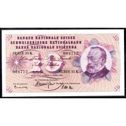 Швейцария 10 франков 1964 г. (SWITZERLAND 10 Franken 1964)  P45i:Unc