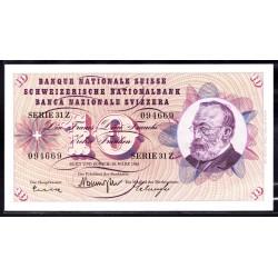 Швейцария 10 франков 1963 г. (SWITZERLAND 10 Franken 1963)  P45h:Unc