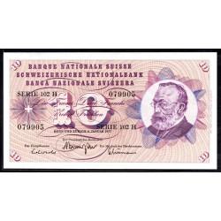 Швейцария 10 франков 1977 г. (SWITZERLAND 10 Franken 1977)  P45u:Unc