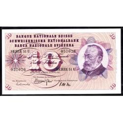 Швейцария 10 франков 1967 г. (SWITZERLAND 10 Franken 1967)  P45:Unc