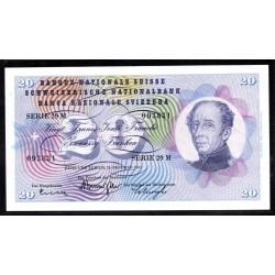 Швейцария 20 франков 1961 г. (SWITZERLAND 20 Franken 1961)  P46i:Unc