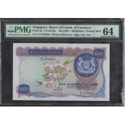 Сингапур 100 долларов б\д (1967) (Singapore 100 dollars ND (1967)) P6a : Unc PMG 64