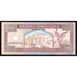 Сомалиленд 20 шиллингов 1994 г. (SOMALILAND 20 shillings 1994 g.) P3а:Unc