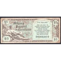 США 5 долларов ND (1951-1954 г.) серия 481 (UNITED STATES OF AMERICA 5 Dollars ND (1951-1954) MILITARY) PM27:VF