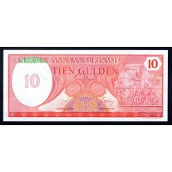 Суринам 10 гульден 1982 г. (SURINAME 10 Gulden 1982) Р126:Unc