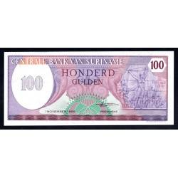 Суринам 100 гульден 1985 г. (SURINAME 100 Gulden 1985) Р128b:Unc