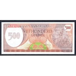 Суринам 500 гульден 1982 г. (SURINAME 500 Gulden 1982) Р129:Unc