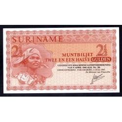 Суринам 2 1/2 гульдена 1967 г. (SURINAME 2½ Gulden 1967) P117b:Unc