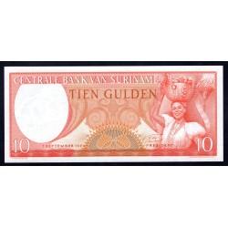 Суринам 10 гульден 1963 г. (SURINAME 10 Gulden 1963) Р121:Unc