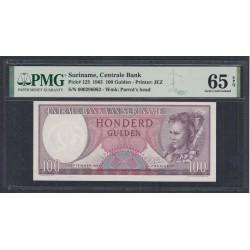 Суринам 100 гульденов 1963 года, РАРИТЕТ!!! (SURINAME 100 Gulden 1963, RARE!!!) Р123 : UNC PMG 65
