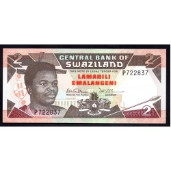 Свазиленд 2 эмалангени ND (1992 г.) (SWAZILAND 2 emalangeni ND (1992 g.) P18а:Unc