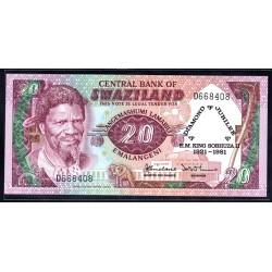 Свазиленд 20 эмалангени 1981 г. (SWAZILAND 20 emalangeni 1981g.) P7:Unc