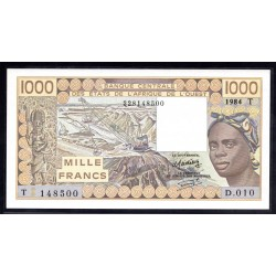 Того 1000 франков 1984 г. (TOGO 1000 francs 1984 g.) P807t:Unc