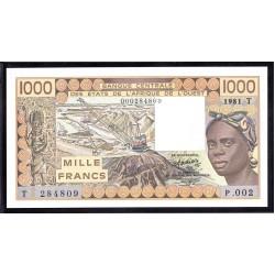 Того 1000 франков 1981 г. (TOGO 1000 francs 1981 g.) P807b:Unc
