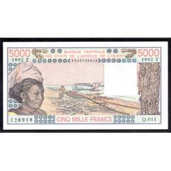 Того 5000 франков 1992 г. (TOGO 5000 francs ND 1992 g.) P808:Unc
