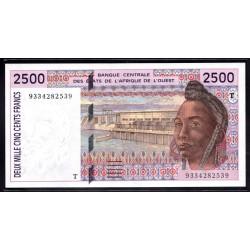 Того 2500 франков ND (1992 - 94 г.) (TOGO 1000 francs ND (1992 - 94 g.)) P812T:Unc