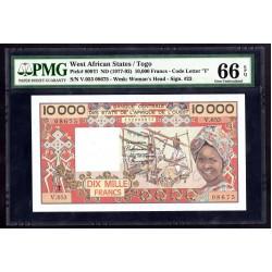 Того 10000 франков ND (1977 - 92 г.) (TOGO 10000 francs ND (1977 - 92 g.)) P809Th:66 greid slab
