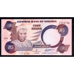 Нигерия 5 найра 2002 г. (NIGERIA 5 naira 2002 g.) P24g:Unc