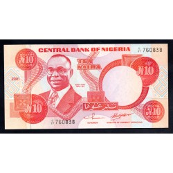 Нигерия 10 найра 2001 г. (NIGERIA 10 naira 2001g.) P25f:Unc