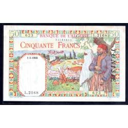 Тунис 50 франков 1945 г. (TUNISIE 50 francs 1945 g.) Р12а:Unc