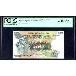 Уганда 100 шиллингов ND (1973 - 77 г.) (UGANDA 100 shillings ND (1973 - 77 g.)) P9с:63 greid slab SPECIMEN