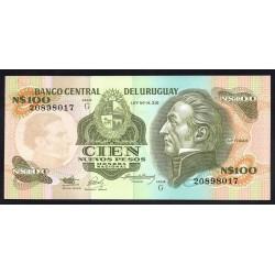 Уругвай 100 песо ND (1987 г.) (URUGUAY 100 Nuevos Pesos ND (1987)) P62А:Unc