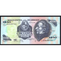 Уругвай 50 песо ND (1988 & 1989 г.) (URUGUAY 50 Nuevos Pesos ND (1988 & 1989)) P61А:Unc