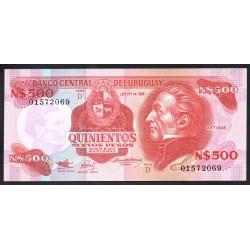 Уругвай 500 песо ND (1991 г.) (URUGUAY 500 Nuevos Pesos ND (1991)) P63А:Unc