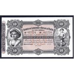 Уругвай 10 песо 1883 г. (URUGUAY 10 Pesos 1883) PS242:Unc