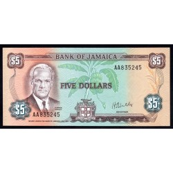 Ямайка 5 долларов L. 1960 (1976 г.) (JAMAICA  5 Dollars L. 1960 (1976)) P61b:Unc