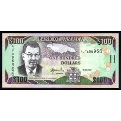 Ямайка 100 долларов 2007 г. (JAMAICA 100 Dollars 2007) P84с:Unc