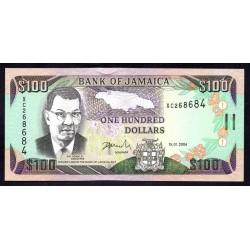 Ямайка 100 долларов 2004 г. (JAMAICA 100 Dollars 2004) P80d:Unc