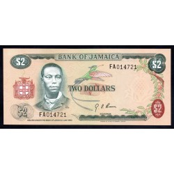 Ямайка 2 доллара L. 1960 (1970 г.) (JAMAICA 2 Dollars L. 1960 (1970)) P58:Unc