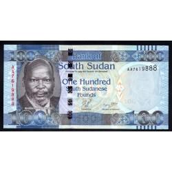 Южный Судан 100 фунтов ND (2011 г.) (South Sudan 100 pounds ND (2011 g.)) P10:Unc