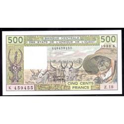 Западные Африканские Государства (Сенегал) 500 франков 1988 г. (BANQUE CENTRALE DES ETATS DE L'AFRIQUE DE L'OUEST (Senegal) 500 francs 1988  g.) P706Kа:Unc