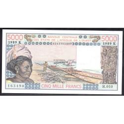 Западные Африканские Государства (Сенегал) 5000 франков 1989 г. (BANQUE CENTRALE DES ETATS DE L'AFRIQUE DE L'OUEST (Senegal) 5000 francs 1989 g.) P708Kе:Unc