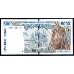 Западные Африканские Государства (Сенегал) 5000 франков 1994 г. (BANQUE CENTRALE DES ETATS DE L'AFRIQUE DE L'OUEST (Senegal) 5000 francs 1994 g.) P713Kс:Unc