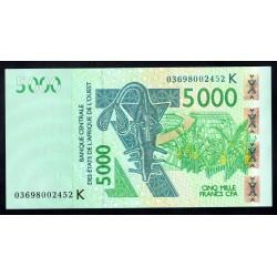 Западные Африканские Государства (Сенегал) 5000 франков 2003 г. (BANQUE CENTRALE DES ETATS DE L'AFRIQUE DE L'OUEST (Senegal) 5000 francs 2003 g.) P717Kа:Unc