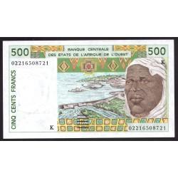 Западные Африканские Государства (Сенегал) 500 франков 2002 г. (BANQUE CENTRALE DES ETATS DE L'AFRIQUE DE L'OUEST (Senegal) 500 francs 2002 g.) P710Km:Unc