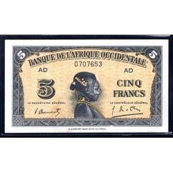 Французская Западная Африка 5 франков 1942 г. (BANQUE DE L'AFRIQUE OCCIDENTALE 5 francs 1942 g.) Р28b:Unc