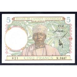 Французская Западная Африка 5 франков 1942 г. (BANQUE DE L'AFRIQUE OCCIDENTALE 5 francs 1942 g.) Р25:Unc