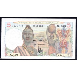 Французская Западная Африка 5 франков 1949 г. (BANQUE DE L'AFRIQUE OCCIDENTALE 5 francs 1949 g.) Р36:Unc