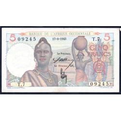 Французская Западная Африка 5 франков 1943 г. (BANQUE DE L'AFRIQUE OCCIDENTALE 5 francs 1943 g.) Р36:Unc