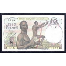 Французская Западная Африка 10 франков 1954 г. (BANQUE DE L'AFRIQUE OCCIDENTALE 10 francs 1954 g.) Р37:Unc