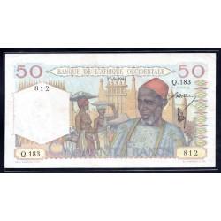 Французская Западная Африка 50 франков 1944 г. (BANQUE DE L'AFRIQUE OCCIDENTALE  50 francs 1944 g.) Р39:Unc