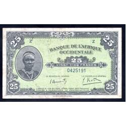 Французская Западная Африка 25 франков 1942 г. (BANQUE DE L'AFRIQUE OCCIDENTALE 25 francs 1942 g.) Р30h:XF