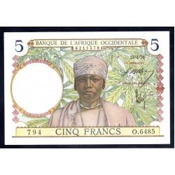 Французская Западная Африка 5 франков 1939 г. (BANQUE DE L'AFRIQUE OCCIDENTALE 5 francs 1939 g.) Р25:Unc